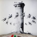 Banksy, Walled Off Hotel: Offset lithographic print depicting a derelict, war zone style swing carousel around a watch tower