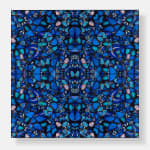 Square format butterfly mosaic in blue toned kaleidoscope style