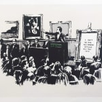 Banksy, Morons: Black and white screen print of an auction room with the artwork in focus reading 'I can't believe you morons actually buy this shit'