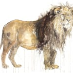 Dave White- Lion, Archival inkjet hand finished with 24k gold leaf