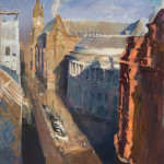 Rob Pointon ROI, Winter Sun on Central Library, 09/2020
