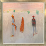 Ann Shrager, Two Men and a Lady in an Orange Sari (London Gallery)
