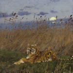 A TIGER AMONG RUSHES IN THE MOONLIGHT