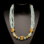Aquamarine, Green Beryl and Gold Bead Necklace