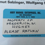 Fred Hughes own copy with sticker and pricelist