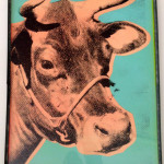 Two silkscreened Cows from Ed. Kienholz.
