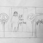 """Riot cop drawing and two Banksy letters"""