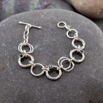 Marsha Drew, Rockpool Chain Link Bracelet with Hammered and Molten Silver Links and three London-Blue Topaz Stones
