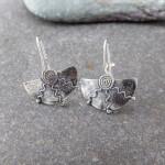 Marsha drew, Half Moon Spiral Earrings Oxidised