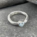 Marsha Drew, Rockpool Rustic Ring with small Trillion Aquamarine