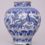 A BLUE AND WHITE PERSIAN SAFAVID JAR, 17th Century