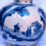 A FINE AND RARE CHINESE BLUE AND WHITE VASE, Kangxi (1662 - 1722)