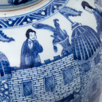 A CHINESE BLUE AND WHITE KANGXI 'LADIES' JAR AND COVER, Kangxi (1662-1722)