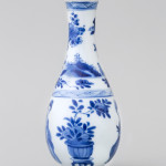 A CHINESE MINIATURE BLUE AND WHITE BOTTLE VASE, Kangxi (1662 – 1722)