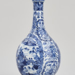 A CHINESE BLUE AND WHITE BOTTLE VASE, Qianlong (1736-1795)