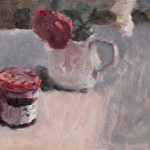 Lynne Cartlidge, Red and White Camellias with a Pot of Jam