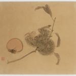 Malerei, #001289 MAEKAWA BUNREI (1837-1917), Kastanienzweig und Kaki, 19. / 20. Jahrhundert