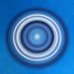 Lisa Sharpe Paintings, Blue on Blue, White Silver Portal (unframed)