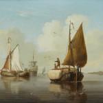 Dutch School, Coastal craft in a calm, a pair