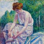 Maximilien Luce, Moulineux, jeune femme ôtant sa sandale, 1904