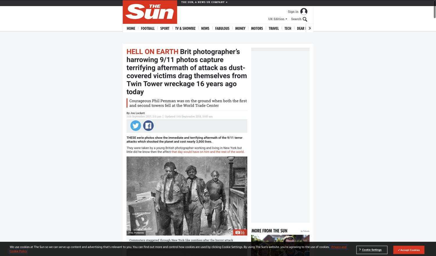 THE SUN: BRITS HARROWING 9/11 PICTURES