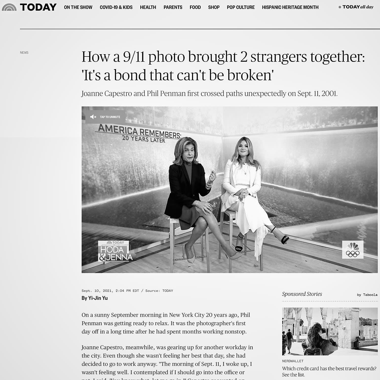 NBC TODAY SHOW : How a 9/11 photo brought 2 strangers together: 'It's a bond that can't be broken'