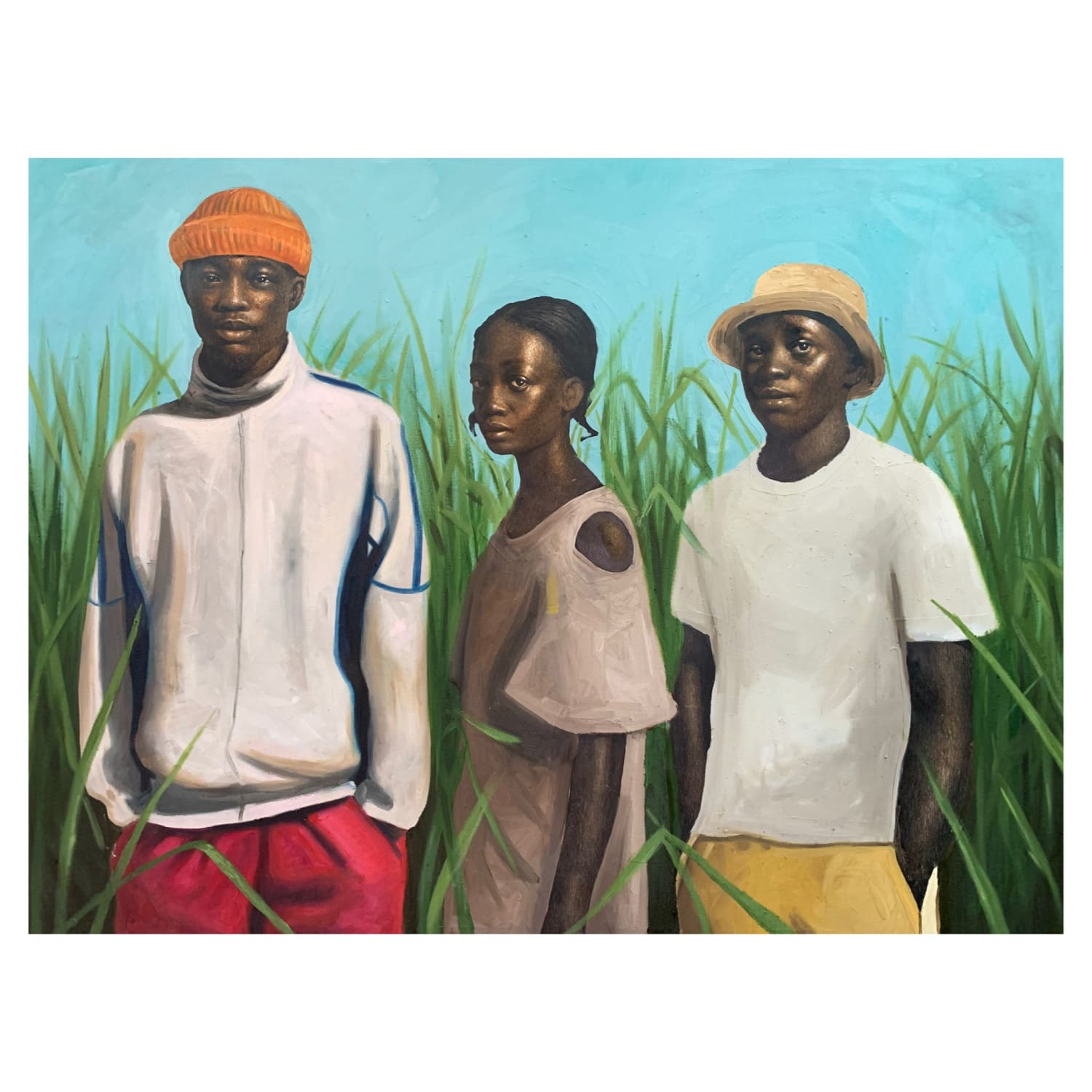 Oliver Okolo Grace Behind A Tall Grass, 2021 mixed media on Canvas 114.3 x 152.4 cms 45 x 60 inches