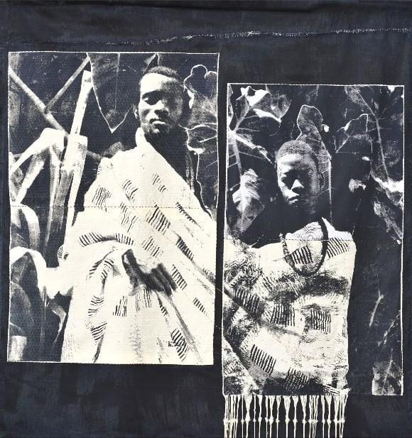 Zohra Opoku Kwame & Max, 2017 Screenprint, denim, acrylic, thread 160 × 165 cm / 63 × 65 in Variation...