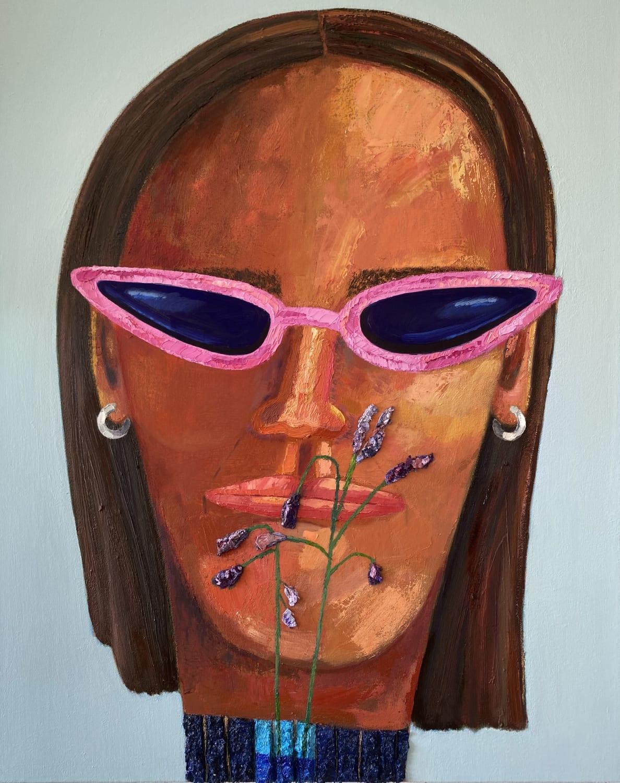 Nabeeha Mohamed Part-Time Botanist, Full Time Influencer, 2021 Oil on canvas 75 x 60 x 5 cm