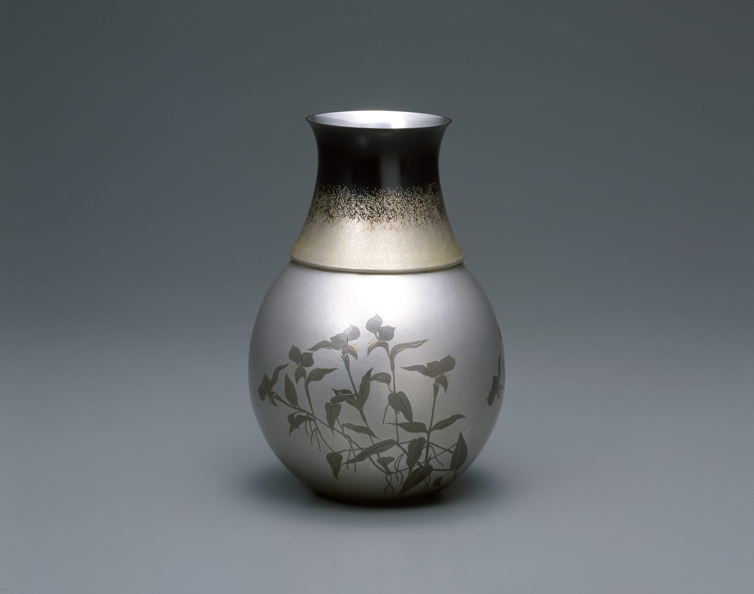 "Okuyama Hoseki Flower Vase ""Dew Grass"", 2003 Gold, silver, shakudo (alloy-copper,gold) and shibuichi (alloy-copper, silver) h. 8 1/2 x dia...."