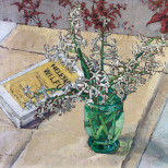 White Flowers and Book