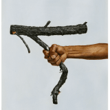 An image containing an arm gripping a broken tree branch, as featured in an artwork by Maurizio Cattelan.