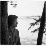 An image containing a photograph of Robert Smithson near Little Fort Island, Maine (1972)⁠⁠