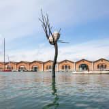 Giuseppe Penone's The Listener installation on view at the 17th International Architecture Exhibition - La Biennale di Venezia 2021.