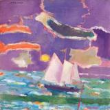 Ralph Della-Volpe Sailing Home, 1978 Oil on canvas, 18 x 18 inches