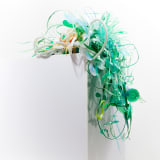 Aurora Robson Agneses, 2020 Plastic and paper debris around a rock, 24 x 26 x 16 inches (61 x 66...