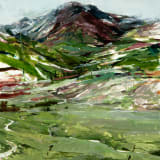 Alex Kanevsky The Mountain with the Valley, 2018 Oil on Mylar mounted on board, 22 3/8 x 20 1/8 inches...