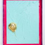 John Knuth Golden Horseshoe Crab, 2021 Acrylic on canvas, gold foiled horseshoe crab shell in acrylic frame, 24 x 18...