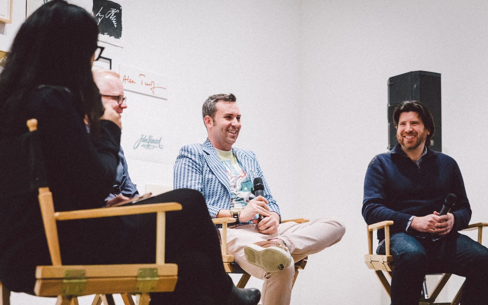 Art Innovators Alliance panelists (L to R Moderator Elisa Mala, Nathan Richardson, Alex Mitow, Tony Aiazzi) at the Postmasters Gallery event in March. Photography by Erik Erikson.