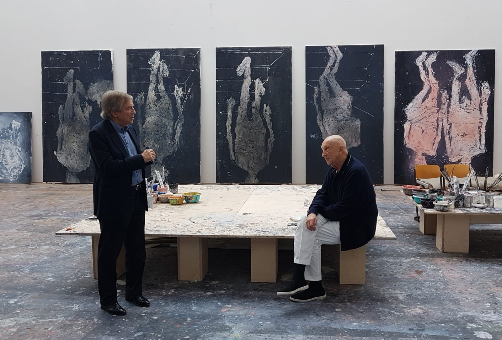 <p>Alan Cristea and Georg Baselitz in Baselitz's studio, 2018. Photo: Leeor Engländer</p>