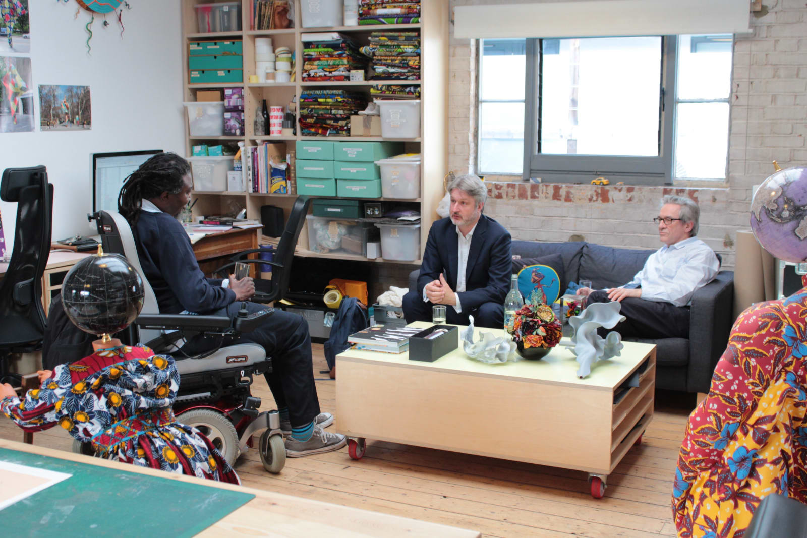 <p>Yinka Shonibare CBE, David Cleaton-Roberts and Alan Cristea at Shonibare's studio, 2019. Photo:Imogen Wright</p>