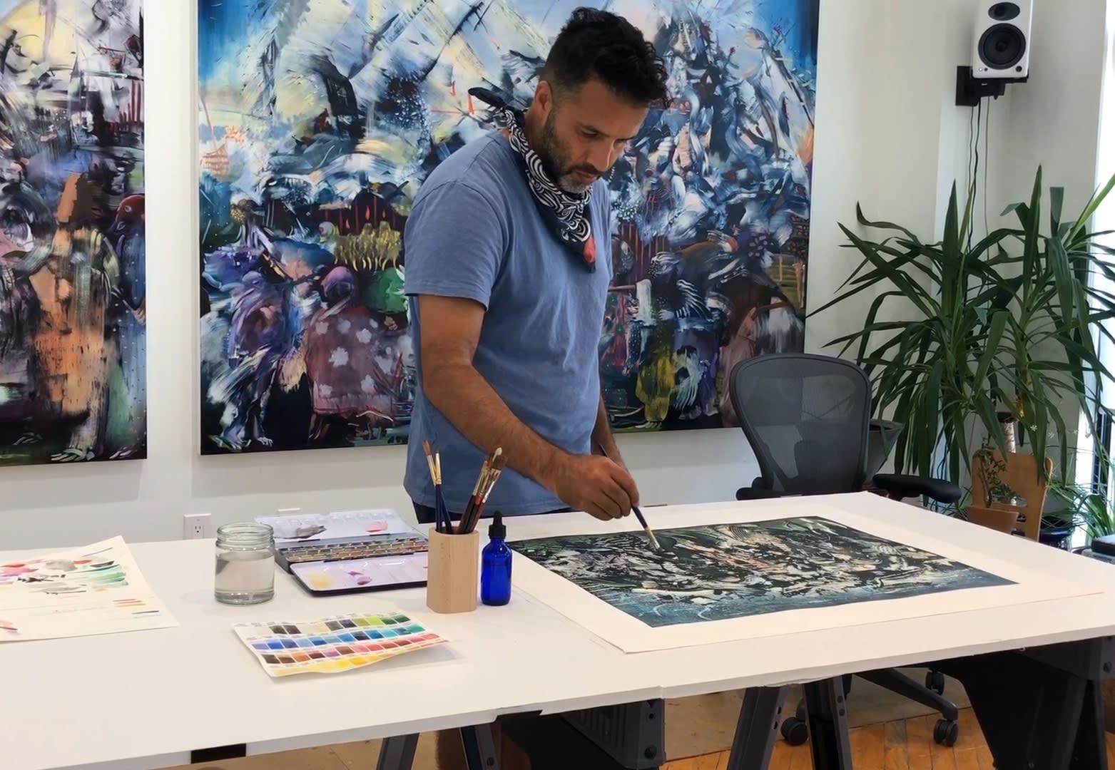 <p>Ali Banisadr in his studio in New York, USA.</p>