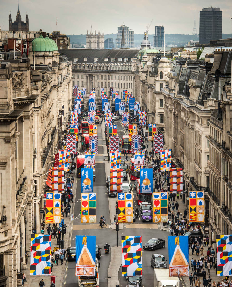 <p>Joe Tilson's RA250 Flags on Regent Street, London, in June 2018. Organised by the Royal Academy of Arts to celebrate the RA's 250th anniversary.</p>
