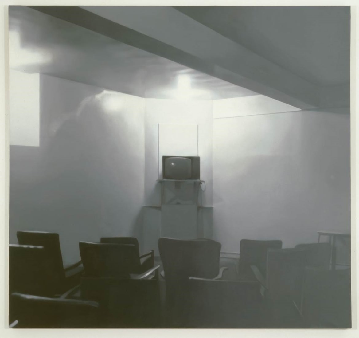 <p>Paul Winstanley; <em>TV Room 1</em>, 1991.<br />Oil on linen, 160 x 170 cm. Arts Council Collection.</p>