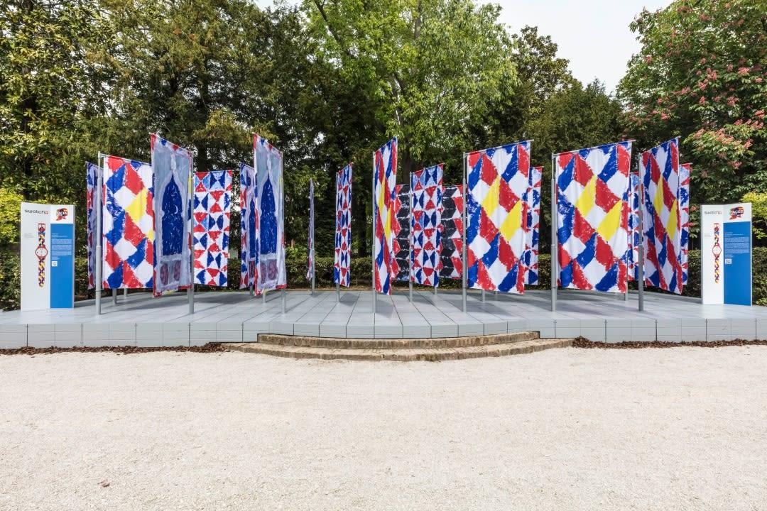 <p>Joe Tilson, The Flags, 2019, Swatch Pavilion, Venice Biennale 2019.</p>