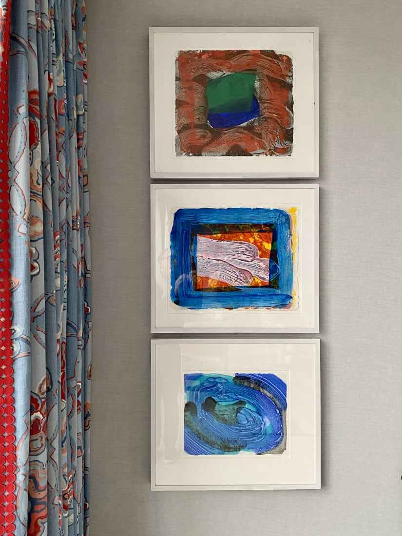 <p>From top to bottom: Howard Hodgkin<em>Books for the Paris Review</em>, 1997-99;<em>Two's company a</em>, 2000-02, and<em>Tears, Idle Tears</em>, 2000-02,installed in the Soho Hotel's Terrace Suite, London.</p>