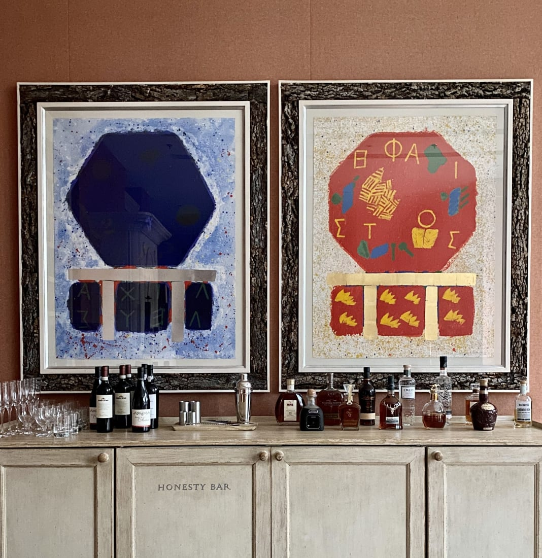 <p>From left to right: Joe Tilson, <em>The Shield of Achilles</em>, 1989-90, and<i>Hephaistos</i>, 1989-90,installed in the Ham Yard Hotel's Drawing Room, London.</p>