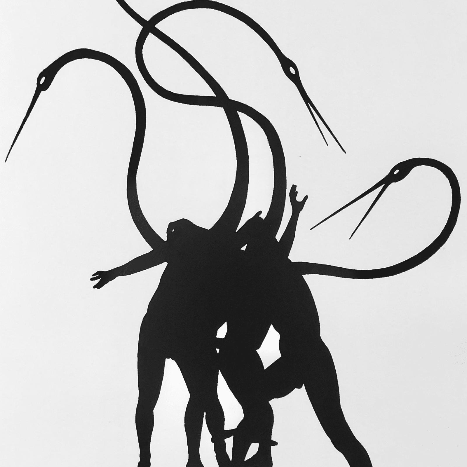 Peter Hristoff  Black Cranes, 2017  Monoprint  16 1/4 x 12 1/4 in (41.3 x 31.1 cm)