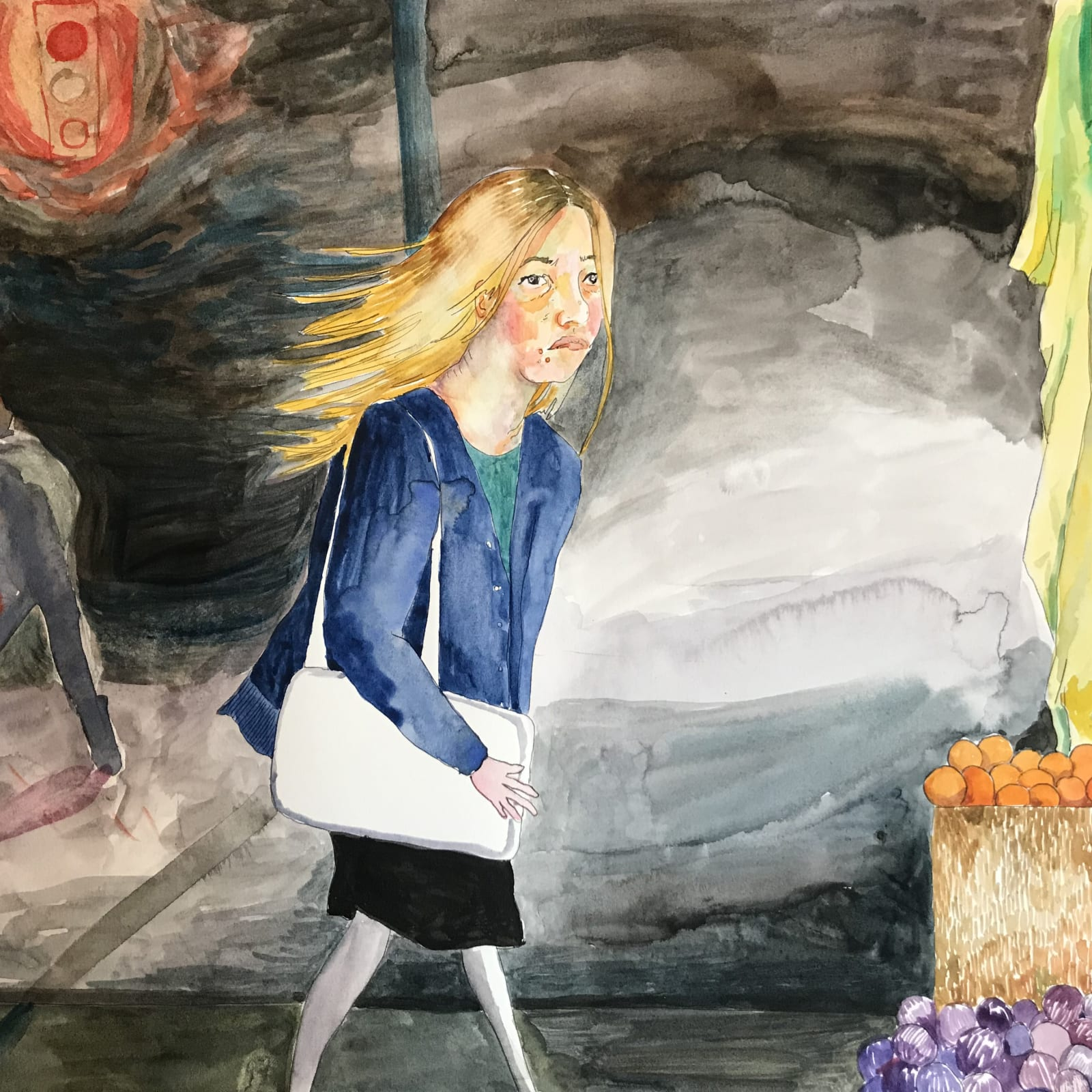 Maggie Ellis  Girl at The Fruit Stand, 2020  Watercolor on paper  11 x 14 in (27.9 x 35.6 cm)