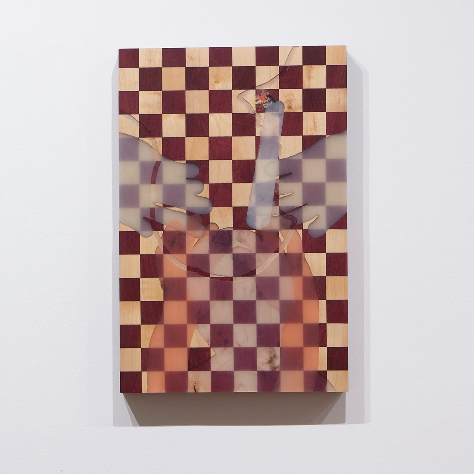 Tommy Coleman  Bicameral By Candle, 2019  UV Resistant Polyester Resin, Glow-in-the-dark Pigment, and Transparent Pigment on Maple and Purple Heart Hard Wood Panel  18 x 12 in (45.7 x 30.5 cm)